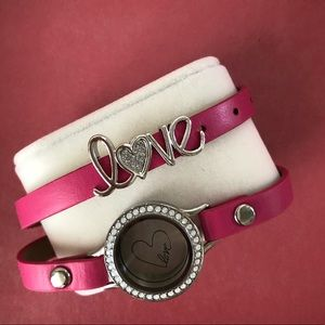 Origami owl pink double wrap bracelet with locket